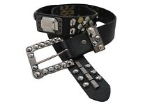 Women Faux Leather Band Belt Hip Metal Gold Silver Studs Beads Buckle Retro L