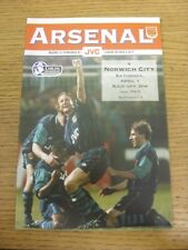 01/04/1995 Arsenal v Norwich City  (Team Changes). Condition: Listed previously