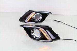 Pair LED Daytime Running Light  DRL W/ Turn Lamp For Mazda 3 2014-2015