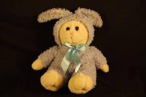 "Tan Teddy Bear Blue Curly Bunny Rabbit Costume Dan Dee Plush 14"" Toy Lovey"