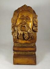 "Vtg. Hand Carved Wooden Bust of a Man Artist Signed w Rope Accents 11 1/2""  Tall"