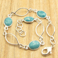 "925 Silver Plated Jewellery ! Bracelet 7.9"" !! Low Price Simulated LARIMAR Gems"
