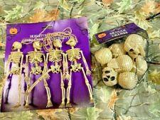 Human Skull Halloween 8 ct & garland  Gothic Mythical Replica Polyresin