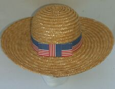 STRAW HAT ADULT WOMEN SUMMER HAT RED WHITE BLUE PATRIOTIC BAND SUN HAT BOW USED