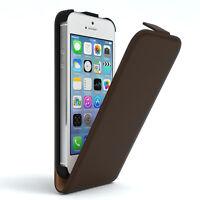 Tasche für Apple iPhone SE / 5S / 5 Flip Case Schutz Hülle Handy Cover Braun