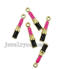 50x Gold Plated&Enamel Alloy Lipstick Charms Pendant Findings Ornaments Craft J