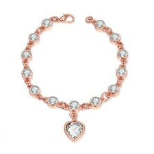 Rose Gold Plated Bracelet 7.75 Inch Heart Charm AAA Zirconia Lobster Clasp L150