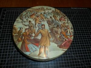 Rare Round Empty Tin Danish Butter Cookies NYC Currier & Ives Skating Graphics