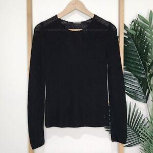 Bottega Veneta Black Knit Jumper Sweater Size 8 Perforated Cashmere Blend Womens