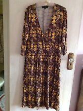 Betty Jackson Faux wrap Dress, Chocolate brown & Mustard Spot, Size 16