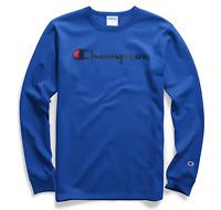 Champion Men Heritage Script Graphic Long Sleeve T-Shirt Blue