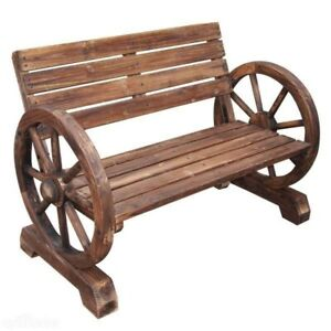 Outdoor Home Wooden Seater Garden Wheel Bench Furniture Patio Park Hardwood New