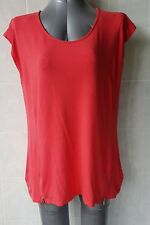 Rockmans Red Top with Front Zips at hemline, Sleeveless, Size M - 12