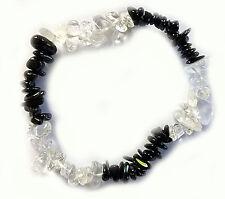 Schwarzer Turmalin (Schörl) + Bergkristall Splitterarmband - Schutzarmband