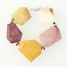 """New Chunky Mookaite Bracelet - Multi-Color Beaded Statement 7"""" Sterling Silver"""