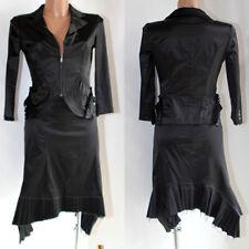 Completo Richmond gonna + giacca donna 42 nero lucido cotone originale abito