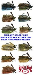 Strike King Jigs Hack Attack Cover Flipping Lure Any Color Size HAHCJ Bait