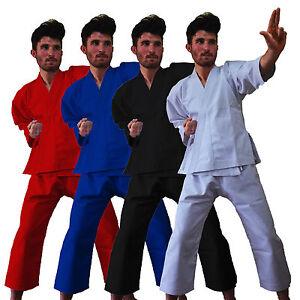 White Black Red Blue Poly cotton Adults/Kids Karate Suit martial art GI Uniform