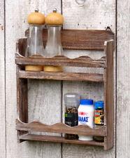Gewürzregal Küchenregal - Wandregal Regal für Gewürze - Shabby Chic Stil - Braun