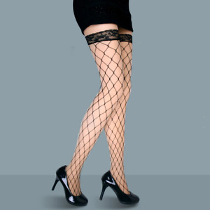 Womens Fishnet Stockings Fencenet Tights Lace Top Thigh High Pantyhose Hold ups