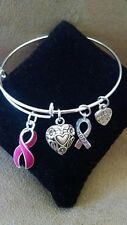 Expandable Bangle Charm Bracelet Throat Cancer Awareness Support BURGUNDY Ribbon