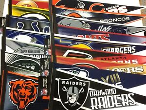U Pick New 12x30 NFL Team Pennant (.99 Ship on 2nd) Bears Chargers, 49ers & More