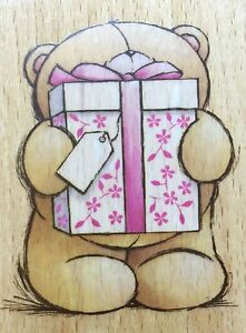 FOREVER FRIENDS TEDDY HOLDING GIFT BOX Wooden Rubber Stamp