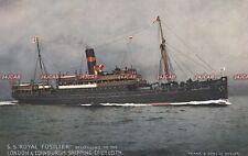 "London & Edinburgh Shipping Postcard. SS ""Royal Fusilier"" Cargo ship. Fine! 1924"