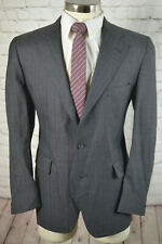 Jos. A. Bank Mens Gray BEADED STRIPE Wool Flat Front 2 Piece Suit 41R 35x28