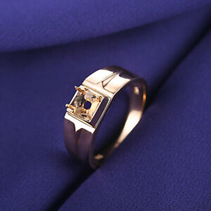 Round 4.5mm to 5.25mm Semi Mount Men's Wedding Fine Jewelry 14K Yellow Gold Ring