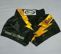 FAIRTEX SHORTS MUAY THAI KICK BOXING GENUINE MMA M BLACK SATIN HIGH VOLTAGE