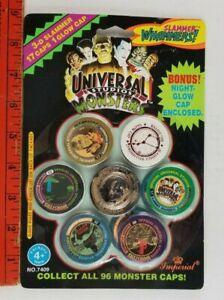 Vintage 1994 NEW Monsters Frankenstein Dracula Slammer Whammers Pogs Caps