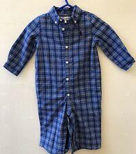 Polo RALPH LAUREN BABYGROW 6 meses Mono de cuadros azules azul marino chicos Auth BNWT