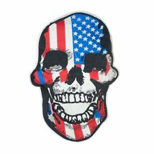 American Flag Skull XL (Sew On) Embroidery Applique Patch Sew Iron Badge