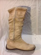 Curtess Beige Mid Calf Suede Boots Size 7
