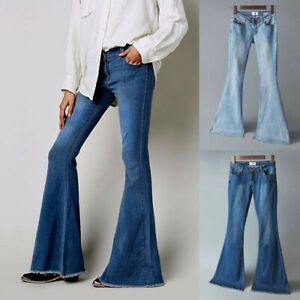 ❤️ Damen Jeans Schlagjeans Weites Bein Jeanshose Schlaghose Stretch Jeanhose