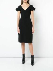 NWT Antonio Berardi Black Plunge Neck Pencil Dress ABPM501031 Size 38IT 6/8UK 32