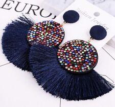 Fashion Earring Boho Festival Party Boutique Multi Bling Navy Blue Drop Tassel