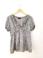 BCBG Max Azria Women's Silk Top Blouse Shirt Size L V-Neck Short Sleeve Paisley