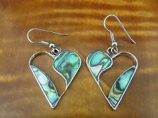 Vintage Abalone Stones Heart Silver Plate Dangle Mexico Pierced Earrings