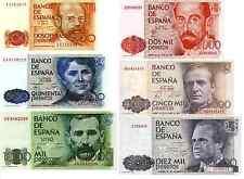 Spagna 6 Banconote :200,500,1000,2000,5000,10000 Pesetas 1979-85 ( Riproduzione)
