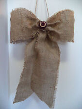 Large Burlap Bow Burgundy Buttons Primitive  Primitive Wedding  Decorations
