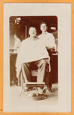 Real Photo Postcard RPPC - Barber Shop with Customer in Chair