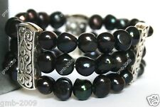 3 Rows Genuine Natural 7-8mm Black Akoya Freshwater Pearl Stretchy Bracelet