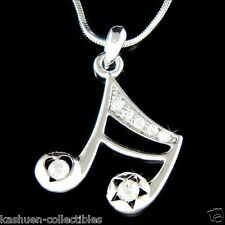 w Swarovski Crystal ~16th MUSIC NOTE Semiquaver Heart Star Pendant Necklace Xmas