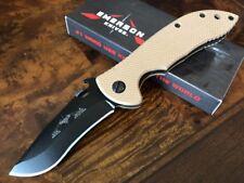 Emerson Knife Mini Commander BT Black Plain Edge Deset Tan Handles Exclusive