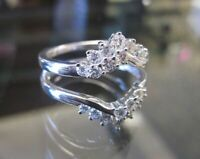 2.51 Ct Round Diamond Engagement Wedding Ring wrap Enhancer 14K White Gold Over