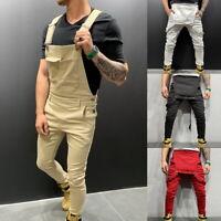 Men Adjustable Shoulder Strap Slim Fit Denim Overalls Casual Bib Pants Jumpsuit