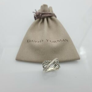 David Yurman Black and White Diamond X Crossover Cable Ring in Sterling sz 7.5