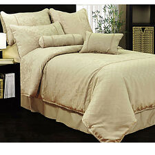 6 Pce Magnifico Oyster QUEEN Quilt Cover + 2 Std Pillowcase + 2 Eurocases + Cush